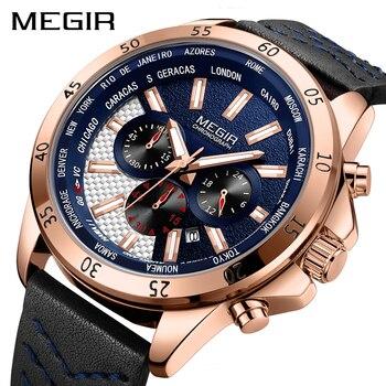 86288cad84d4 Erkek Kol Saati reloj MEGIR reloj de deporte de moda de cuarzo relojes para  hombre marca de lujo reloj militar reloj Masculino Zegarek Mesk