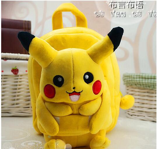 Presente para o bebê 1 pc 25 cm pequeno dos desenhos animados Pokemon Pocket Monsters Pikachu boneca de pelúcia mochilas bonito ombro saco Mochila brinquedo de menina