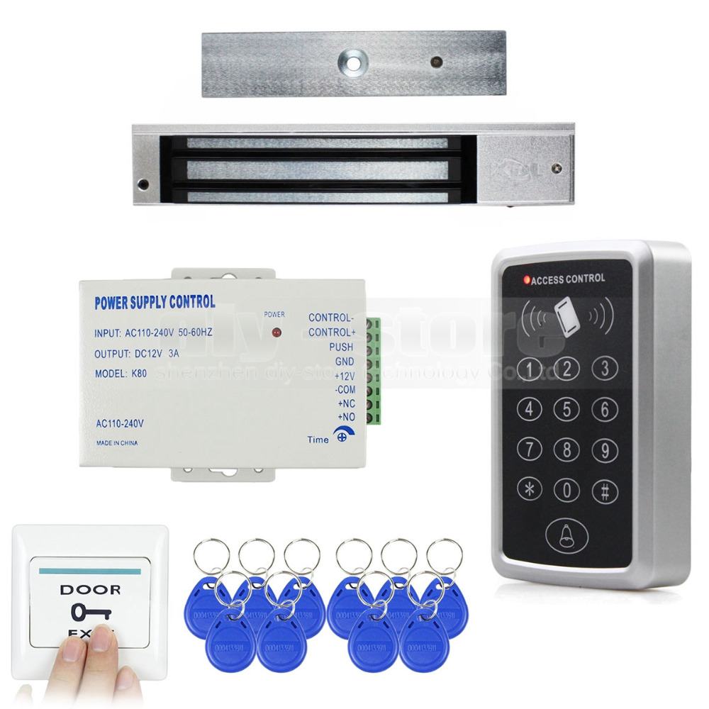 DIYKIT Diy Full Complete Rfid Card Keypad Door Access Control System Kit + 280KG Magnetic Lock for Home Improvement