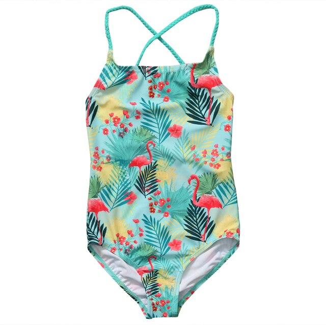 ddb0ab5b4e16 Flamingo baby clothing Summer Toddler Kids Baby Girls Tankini Bikini ...