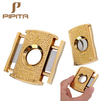 Fashion COHIBA Style Cigar Cutters Double Blades Stainless Steel Plated Cigars Cutter GAdgets Zigarre Cut Cuban Cigars Scissors