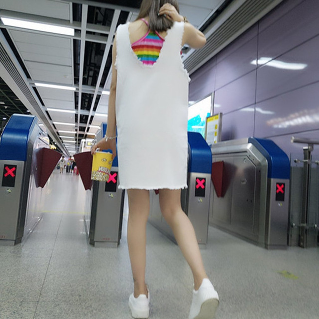 Fashion Women Summer 2-Pieces Denim Strap White Dress & Rainbow Color Camisole Casual Sleeveless Loose Overall Dress New