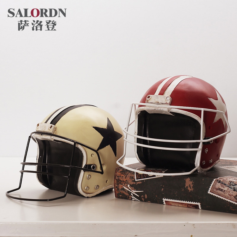 American football cap retro resin furnishing articles do old handicraft Helmet model place adorn adornment