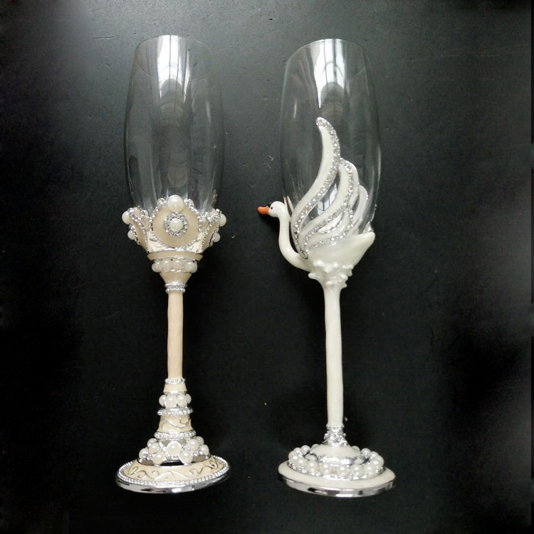 Handmade senior champagne cup wedding wine glass wedding gift rhinestone pasted crystal cup