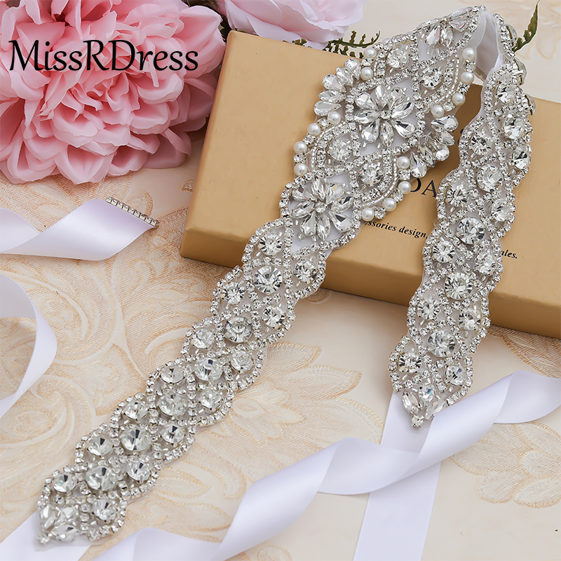 MissRDress Pearl Belt Rhinestones Wedding Belt Hand Beaded Bridal Belt Crystal Wedding Sash For Women Evening Dresses JK829