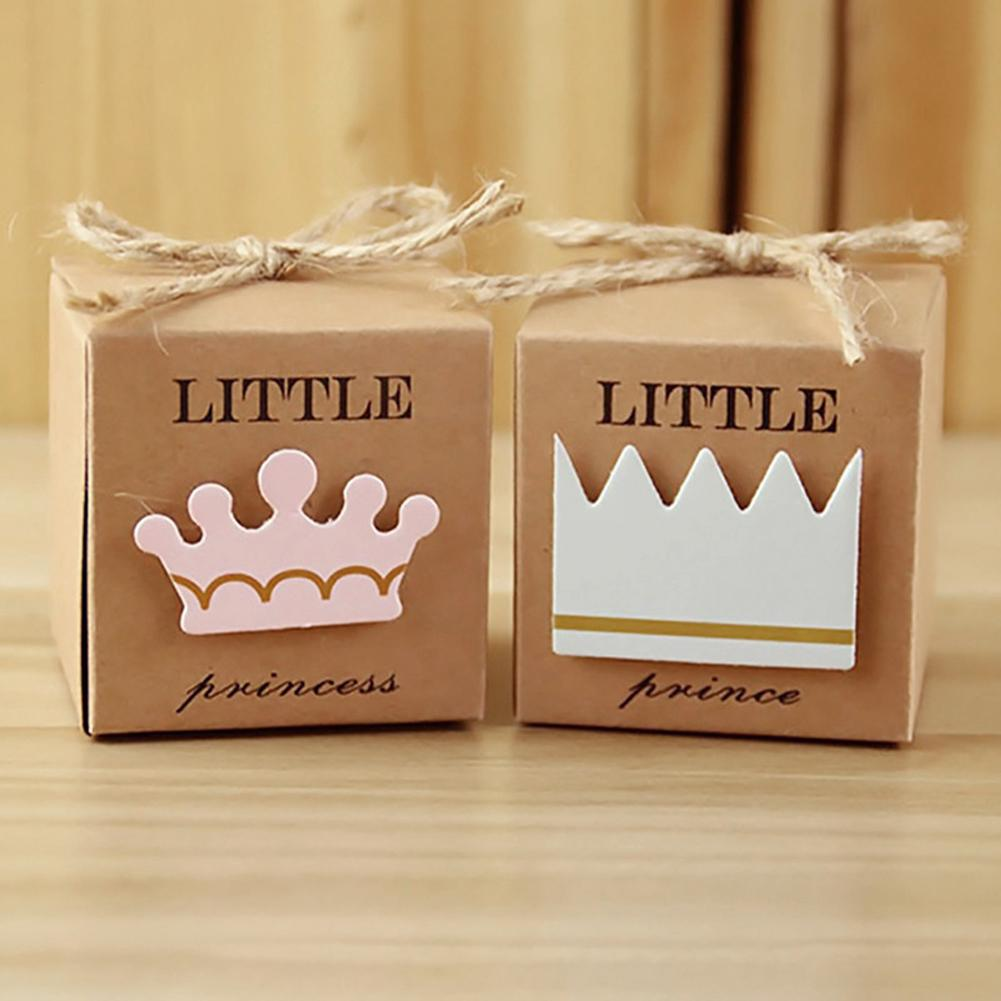 5 Pcs Cap Top Gift Bags Craft Paper Gift Box With Love/heart/prince/princess Boy Or Girl Candy Box Candy Container Event & Party