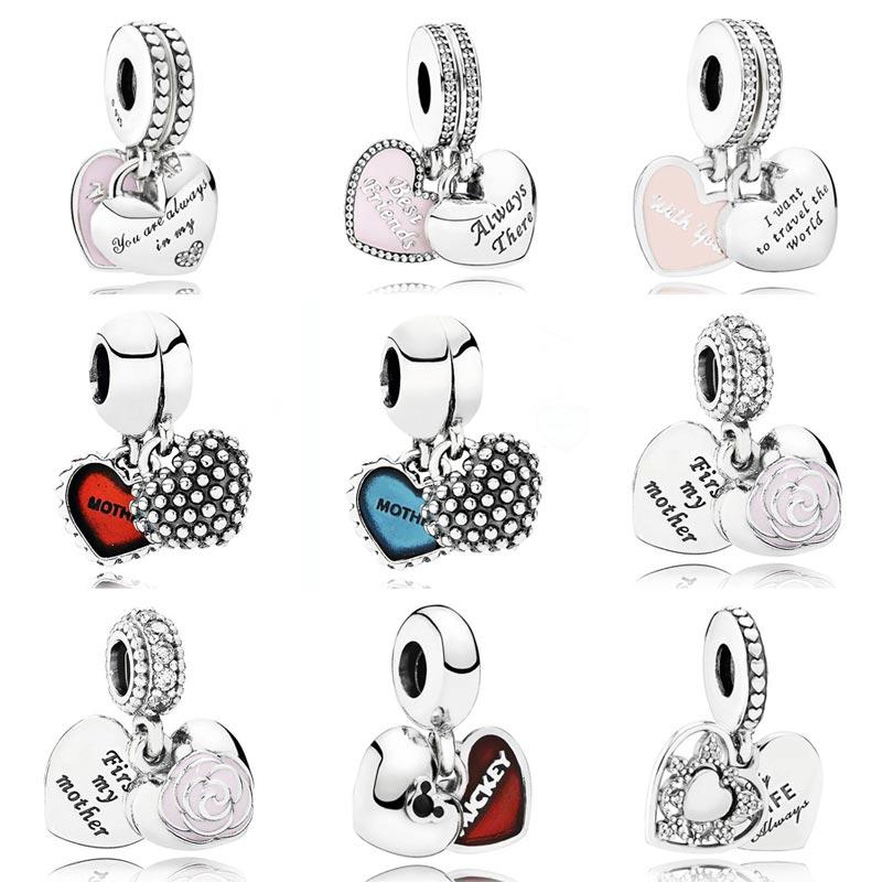 Enamel Mother & Daughter Son Love Hearts Best Friend Pendant Charm Fit Pandora Bracelet 925 Sterling Silver Bead Charm Jewelry