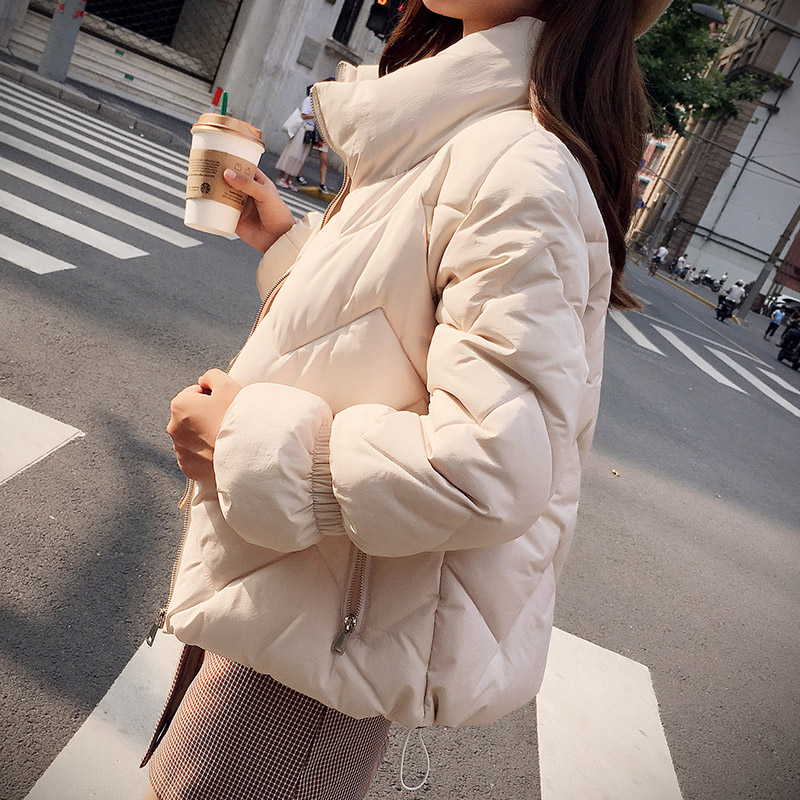 High Quality INS Popular Warm Winter Jacket Women Stand Collar Solid   Parka   Short Pocket Cotton Female Coat Office Lady Outwear