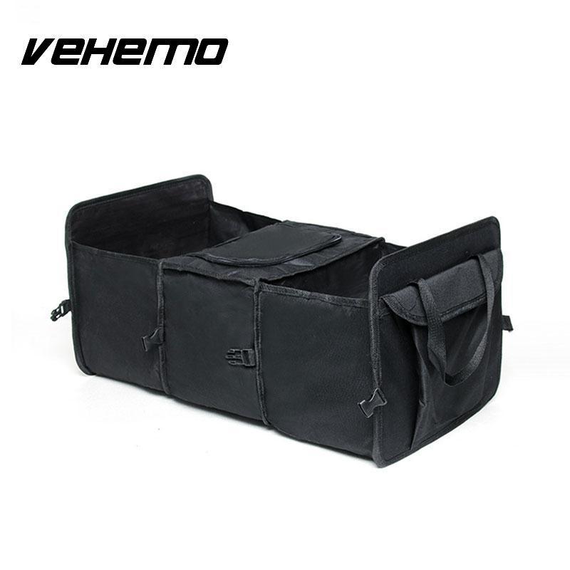 Vehemo Auto Care Car trunk storage bag Foldable Multi Compartment Fabric Oxford Cloth folding truck storage box Cooler Set