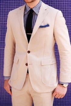 2018 New Custom Made Khaki Linen Mens Suits For Beach Wedding Casual Man Suit Groom Tuxedos Groomsman Wear(Jacket+Pants)terno
