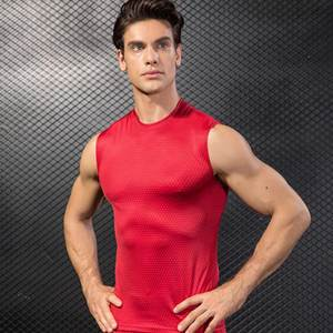 2019 Gym Red Shirt Sport Shirt Men Summer Running T-shirt Vest Compression Gym t shirt Fitness Tights Workout Men Sportswear 2pc