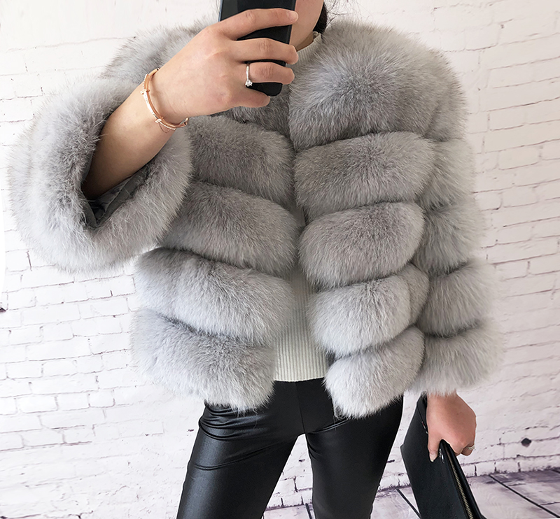 2019 new style real fur coat 100% natural fur jacket female winter warm leather fox fur coat high quality fur vest Free shipping 107