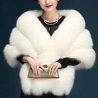 New Winter Poncho Women Imitation Fox Fur Cloak Plus Size Sleeveless High Quality Fashion Thick Elegant Fur Poncho Coat Women