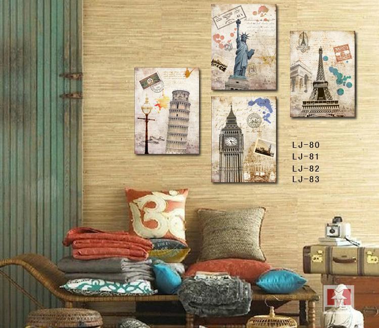 Aliexpress.com : Buy 4 Piece No Frame European Landscape Famous ...