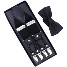 New Suspenders Set leather  6 Clips Braces with Bow Tie Vintage Casual Suspensorio Trousers Strap Father/Husband's Gift недорого