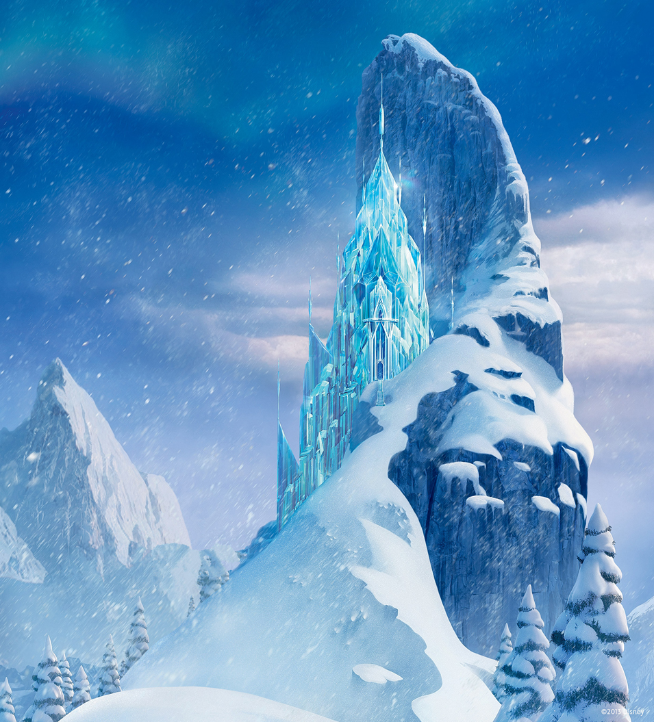 Frozen Ice Crystal Palace Castle Snow Mountain Vinyl Cloth
