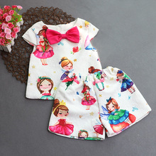 2017 new woman cute sample go well with youngsters summer time style youngsters's clothes go well with age from Three-8T