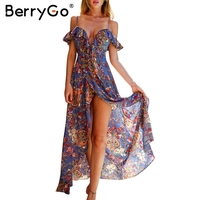 BerryGo Ruffle Backless Sexy Long Dress Vintage Boho Beach Summer Dress Women Split Chiffon Zipper Maxi