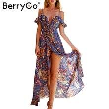 BerryGo Ruffle backless sexy  long dress Vintage boho beach summer dress women Split chiffon zipper maxi dress vestidos sundress