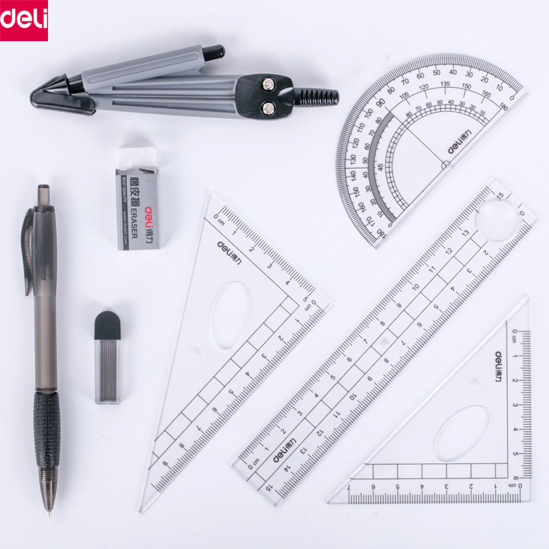 Deli Drawing Compass Math Geometry Tools for Circles School Supplies for Student Stationery School Supplies(Included Box) deli math set drafting set compass circle drawing template protractor math art maths squares mathematic geometry compass