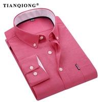 TIAN QIONG Spring Autumn Oxford Mens Shirts Long Sleeve Cotton Casual Shirt Solid Camisa 5XL Big