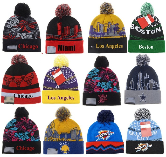 New fashion Chicago Boston Los Angeles Miami basketball team beanies male  toucas de inverno skateboard basketball hats for men 74eb861b1b0
