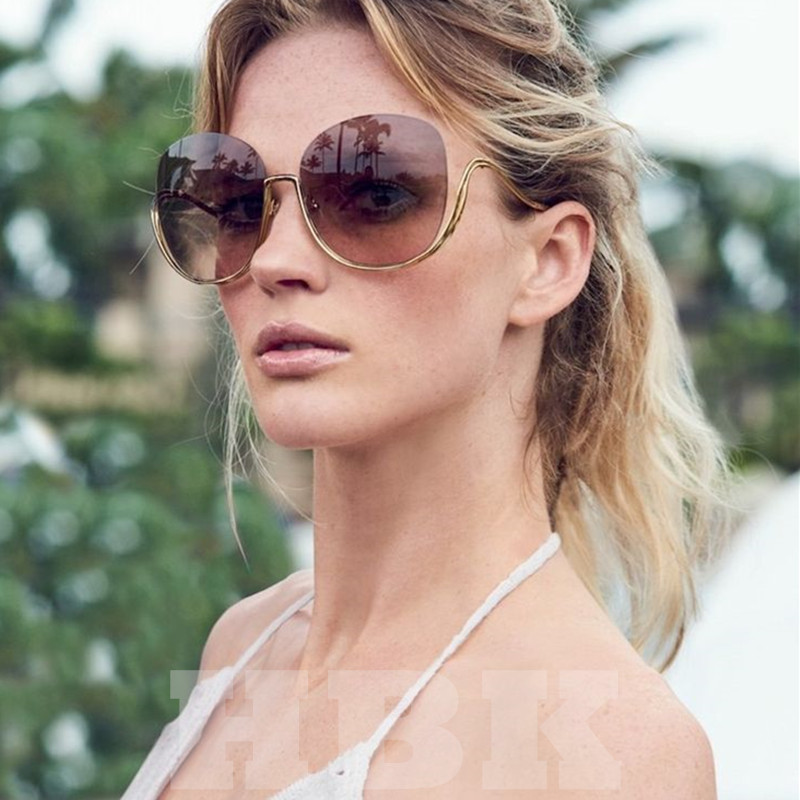 4a0bda4f2845 [HOT DEAL] US $12.61 for HBK 2019 Rimless Gradient Sunglasses Women Luxury Brand  Designer Oversized Square Sun Glasses Ladies For Female Clear Eyewear
