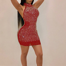Sparkly Rhinestone Sexy Plus Size Dress Women Open Back Off