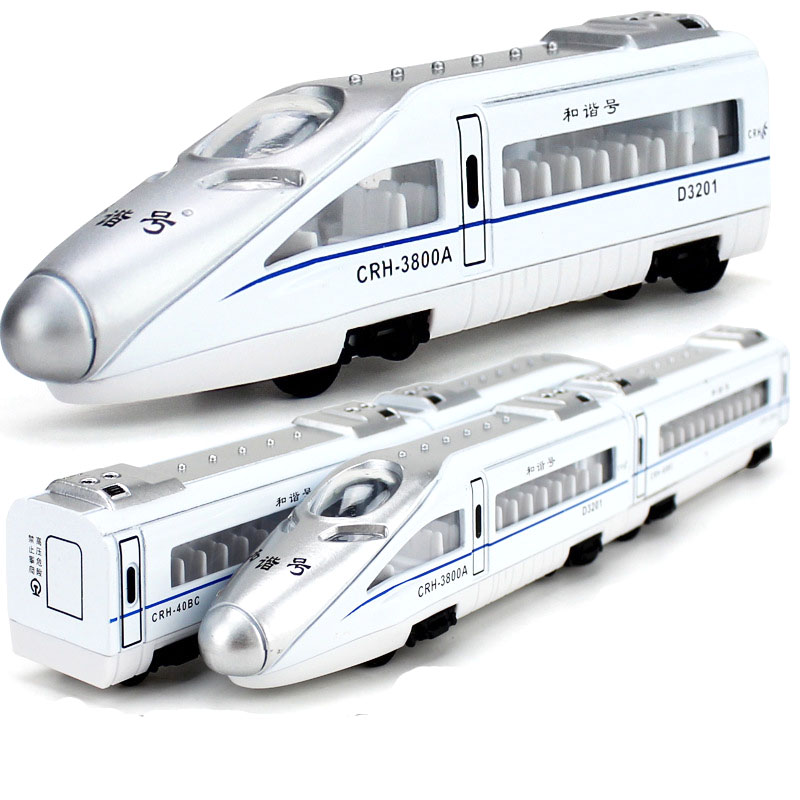 Toy Train 1:300 Scale Metal Harmonious Bullet Train Magnetic Connection Model Alloy Pull Back Toy 4 Carriage Collection