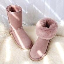 Купить с кэшбэком Australia Winter Sheepskin Fur Wool In One Snow Boots Women Classic Design  Thick Warm Shoes Middle Calf Button Snow Shoes