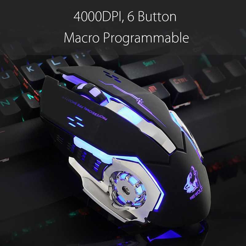 السلكية الخلفية ماوس الألعاب ماوس 4000 ديسيبل متوحد الخواص led بصري ألعاب 6 زر ماكرو برمجة لعبة الفئران mause الكمبيوتر ل lol محمول