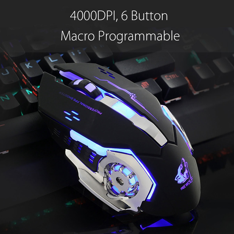 Wired Backlit Gaming Mouse 4000DPI LED Optical Mouse Gamer 6Button Macro Programmable Mause Computer Game Mice PC for LOL Laptop เมาส์