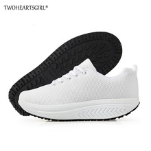 Twoheartsgirl Customize Design Pattern Women Swing Shoes Height Increasing Slimming Breathable Platform Girls