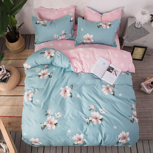 4-Piece Bedding Plant Flower Active Printing AB Side Luxury Sheet