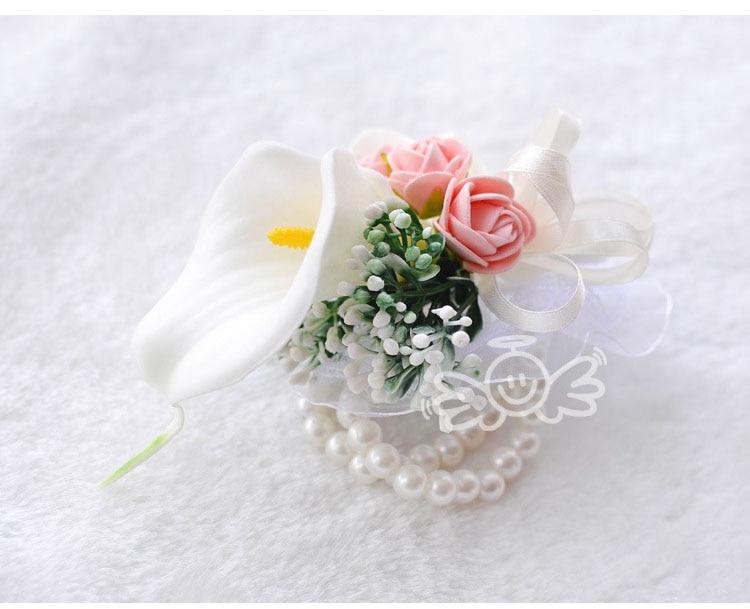 white wedding wrist corsage boutonnieres roses  (11)