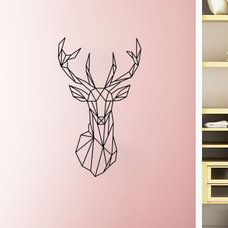 3D Geometric Deer Head Wall Sticker Home Decor Living Room Mural Christmas  Decoration Animal Carved Poster PVC Wall Art Decals In Wall Stickers From  Home ...