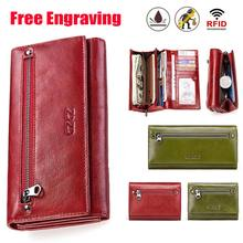GZCZ Free Engraving Women Genuine Leather Wallets Bifold RFID Wallet Female Zipper Poucht Long Valet Portomonee Clamp For Money(China)