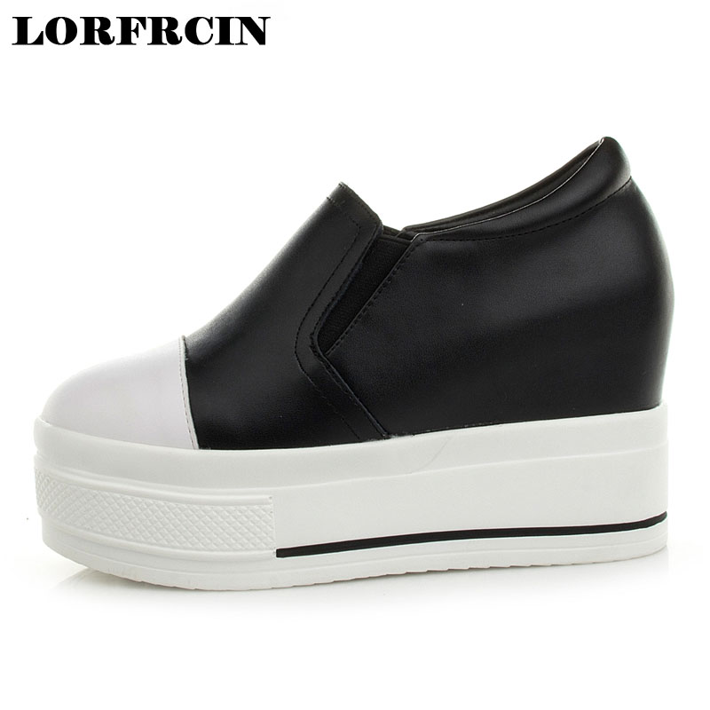LORFRCIN 2017 Fashion Super High Heel Shoes For Woman Fall Women Shoes Genuine Leather Wedge Shoes Mujer Height increased Pumps best selling european genuine leather super high heel wedge slippers women floral wedge pumps summer shoes 4 color ml2063