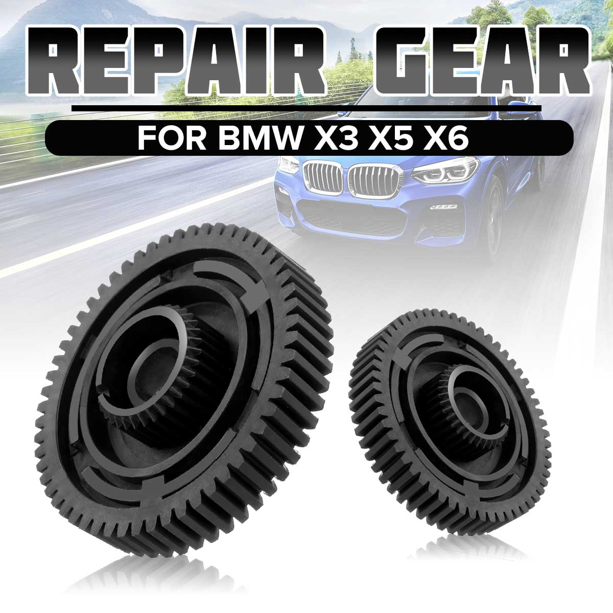 For BMW X3 X5 X6 Repair Actuator Motor Transfer Case Gear 27107566296GR Black