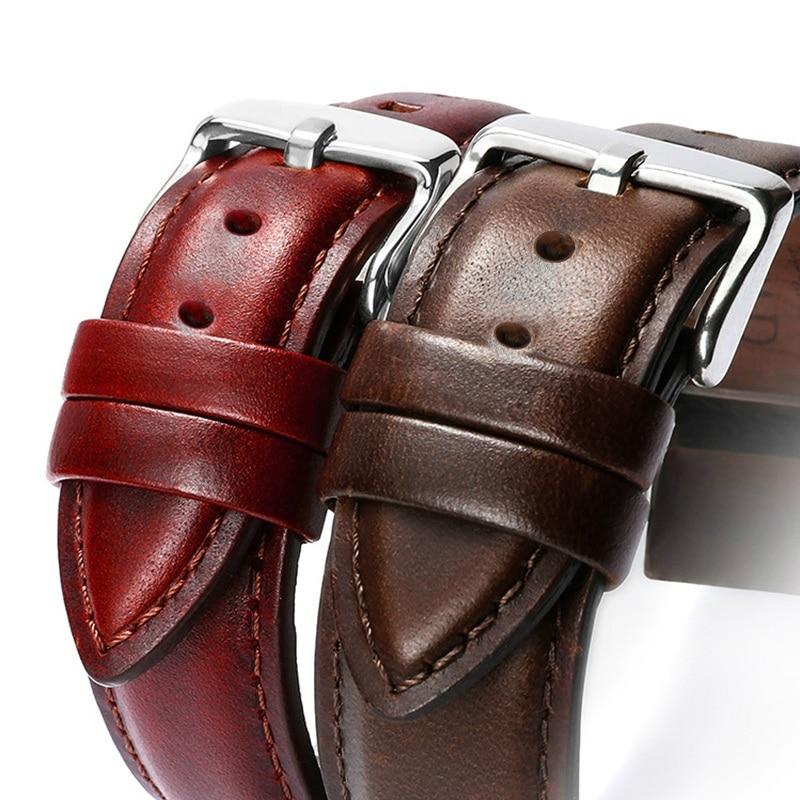 Leather Watchband Men Women Watch Band 22mm 20mm 18mm 16mm 14mm 12mm Wrist Watch Strap On Belt Watchbands Bracelet Metal Buckle