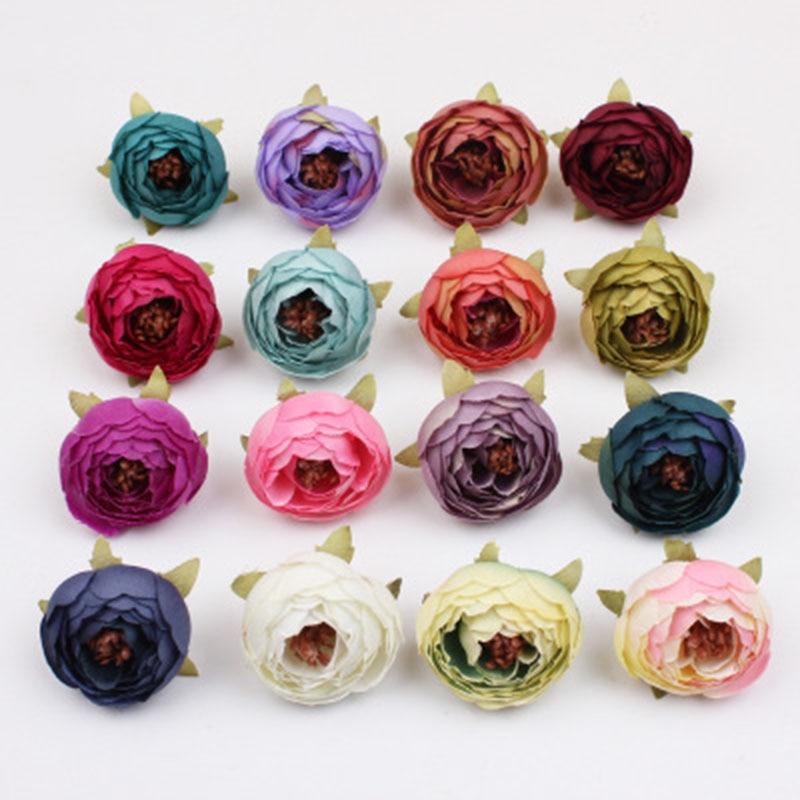 10 шт./лот 5 см Мини Роза, голова пиона, Шелковый Искусственный цветок для свадебного украшения дома, венок «сделай сам», скрапбукинг, Подарочн...