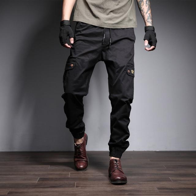 Calças Dos Homens de Carga AudWhale Cordão Solto Trabalho Denim Calças Para Homens Calças De Cintura Alta Jeans Para Homens Multi Bolso