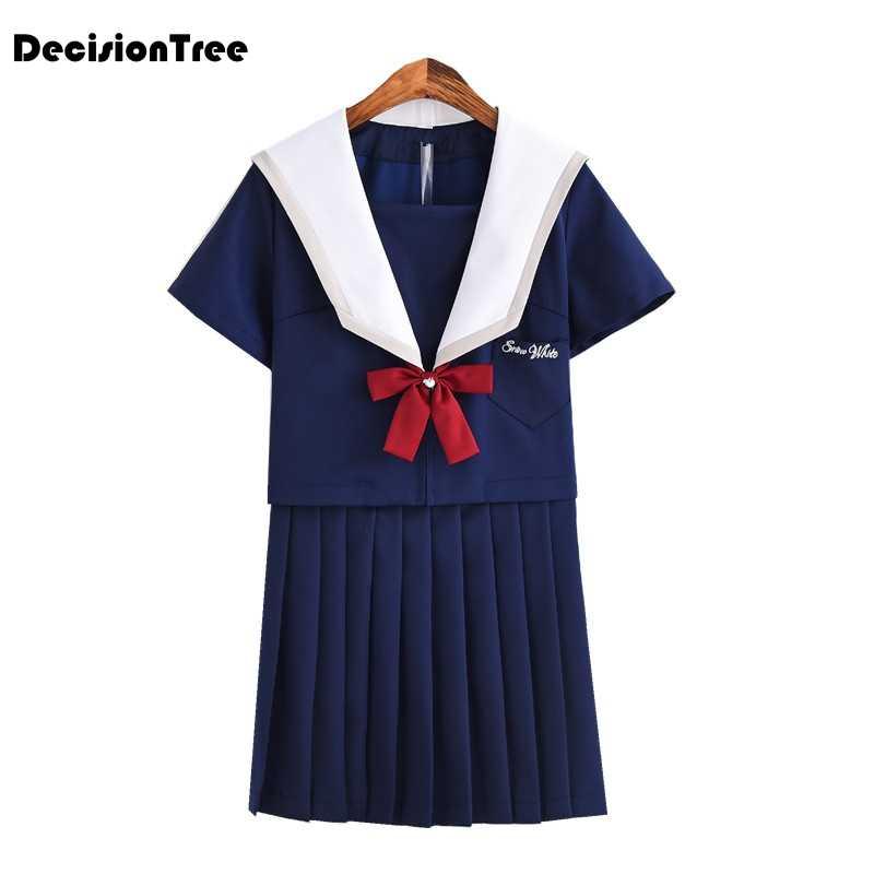 Лето 2019 г. Японский Корейский Сейлор костюмы для косплея школьная форма милые девушки jk костюм студентки топ + юбки галстук бабочка