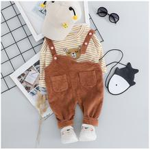 2019 Autumn Toddler Infant Clothing Suits Baby Girls Boys Clothes Sets  Striped Bear T Shirt Bib Pants Kids Children Costume цена