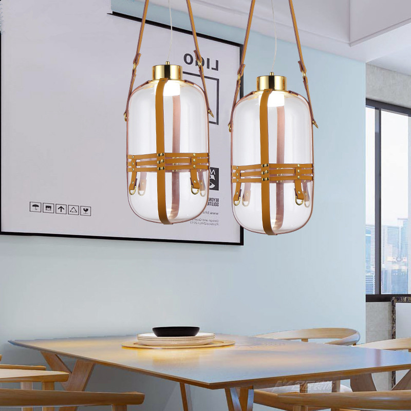 Bouteille d'eau créative en cuir élingue conception unique tête en verre transparent pendentif LED lampe simple restaurant décoration éclairage