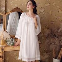 2019 New Princess Long Sleeping Dress Sweet Lace Sleepwear Female Long Sleeve Nightgowns Vintage Royal Women Nightdress HZL29