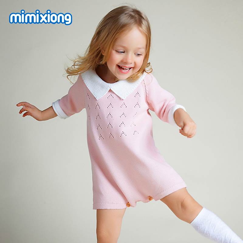 New Born Kids Baby Girls Knitted Sweater Dress Pink Three-Quarter Sleeves Toddler Straight Dresses Summer Children Clothing 0-2Y