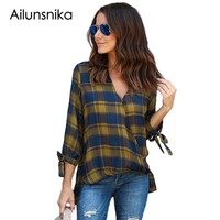 Ailunsnika 2018 Casual Plaid Women Blouses Red Black Check V Neck Style Long Sleeve Shirts Loose