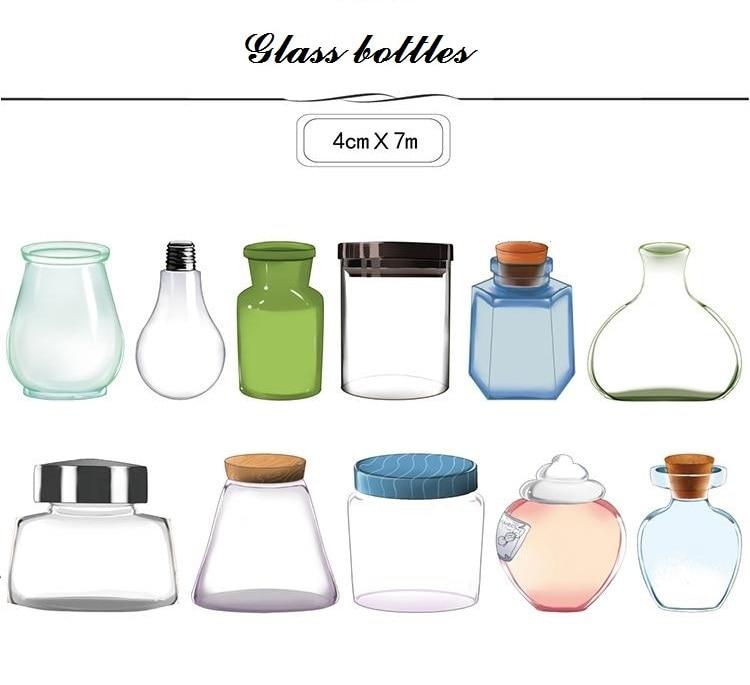 все цены на  2016 NEW 1Roll=40mmx7m High Quality Glass Bottles Pattern Japanese Washi Decorative Adhesive DIY Masking Paper Tape Sticker Gift  онлайн