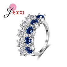 JEXXI New Arrival Fashion 925 Sterling Silver Wedding Rings White & Blue Sapphire Crystal Engagement Jewelry Accessories Ring